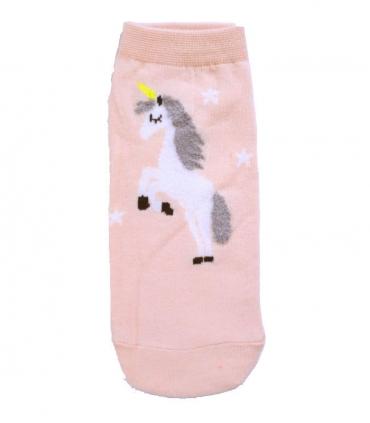 جوراب قوزکی طرح تک شاخ و ستاره صورتی