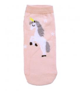 جوراب قوزکی طرح تکشاخ و ستاره صورتی