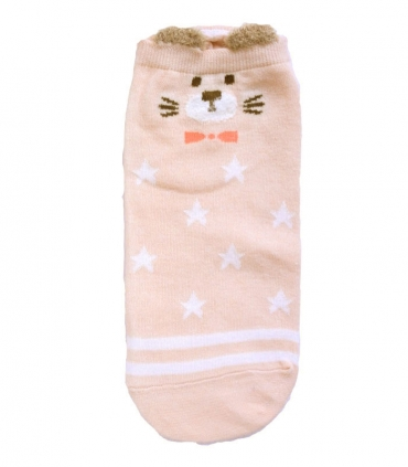 جوراب قوزکی طرح گربه جنتلمن صورتی