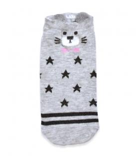 جوراب قوزکی گوشدار طرح گربه جنتلمن خاکستری