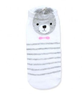 جوراب قوزکی گوشدار طرح خرس جنتلمن سفید