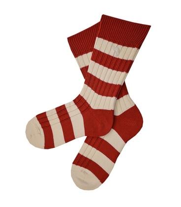 جوراب پشمی مردانه قرمز سفید