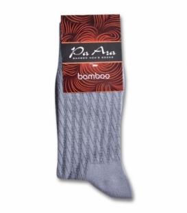 جوراب بامبو ساقدار پاآرا طرح راه راه خاکستری روشن
