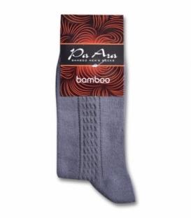 جوراب بامبو ساقدار پاآرا طرح خط دار خاکستری تیره