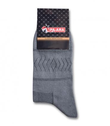 جوراب ساقدار پاآرا طرح لوزی و خط خاکستری تیره