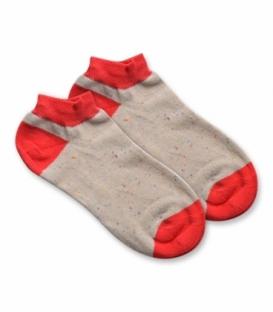 جوراب نانو مچی پاآرا طرح خال خالی خاکی قرمز