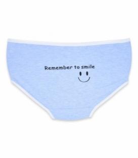 شورت اسلیپ فاق بلند نخی طرح Smile آبی