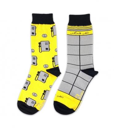 جوراب لنگه به لنگه ساقدار نانو پاتریس طرح تلفن همگانی زرد و خاکستری