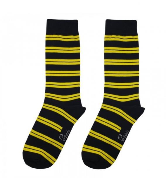 جوراب ساقدار نانو پاتریس طرح راه راه G15 مشکی زرد