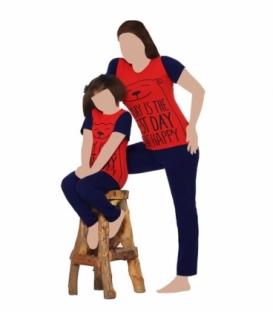 ست شلوار و تیشرت آستین کوتاه مادر نخی Sevi سوی طرح روز شادی قرمز سرمهای کد 4410