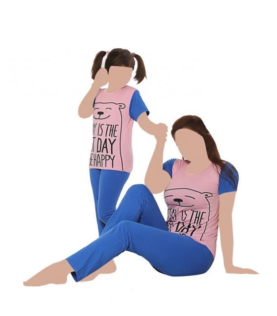 ست شلوار و تیشرت آستین کوتاه کودک نخی Sevi سوی طرح روز شادی صورتی آبی کد 4412