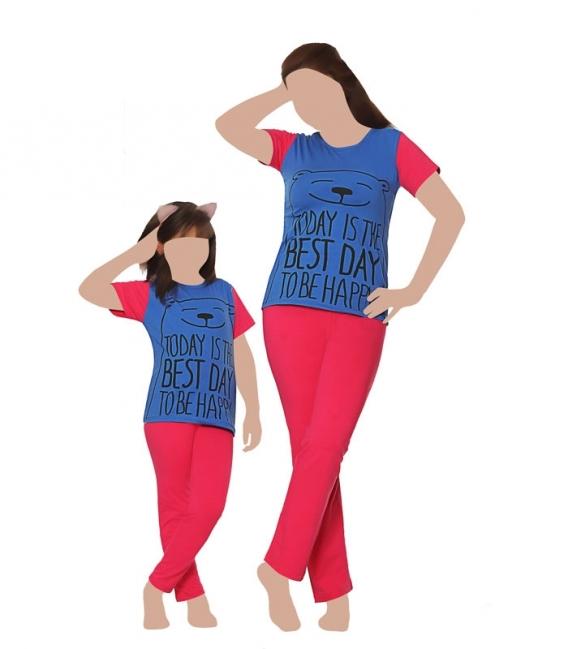 ست شلوار و تیشرت آستین کوتاه کودک نخی Sevi سوی طرح روز شادی آبی سرخابی کد 4413