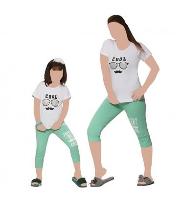 ست شلوارک و تیشرت آستین کوتاه مادر نخی Sevi سوی طرح Cool سفید سبز کد 4522