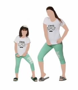ست شلوارک و تیشرت آستین کوتاه کودک نخی Sevi سوی طرح Cool سفید سبز کد 4522