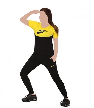 ست شلوار اسلش و تیشرت آستین کوتاه نخی Sevi سوی طرح Nike مشکی زرد کد 7000
