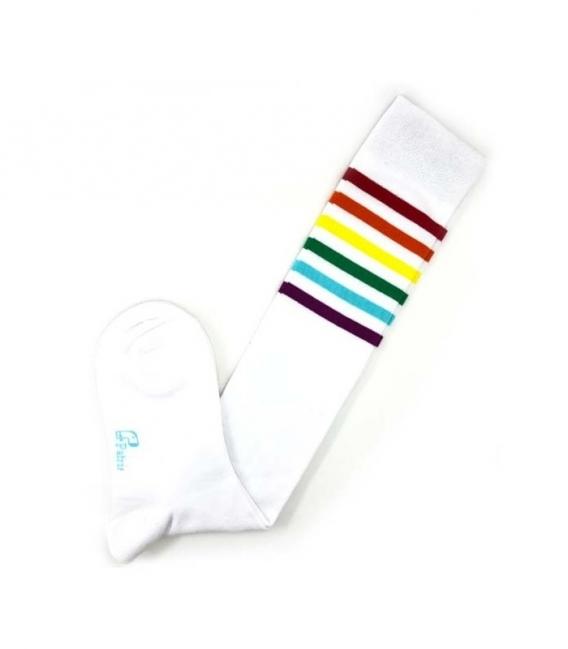 جوراب بالا زانو نانو پاتریس طرح ساده شش خط سفید رنگی