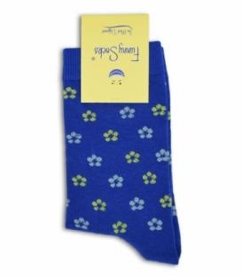جوراب فانی ساکس ساقدار طرح گل گلی آبی کاربنی کد 703