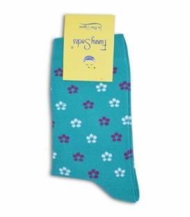 جوراب فانی ساکس ساقدار طرح گل گلی سبز آبی کد 703