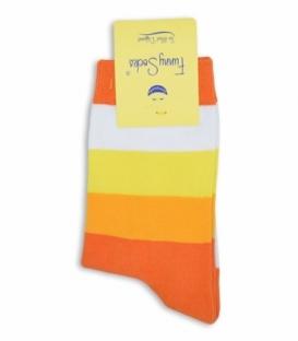 جوراب فانی ساکس ساقدار طرح راه راه نارنجی زرد کد 721