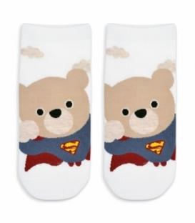 جوراب مچی طرح خرس سفید کرم