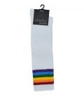 جوراب Chetic چتیک بالا زانو سفید خط دار رنگارنگ