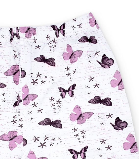 شلوارک نخی Misspel میسپل کد 460 طرح پروانه سفید صورتی