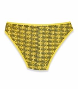 شورت اسلیپ نخی نیلی کد 410 طرح لوزی زرد