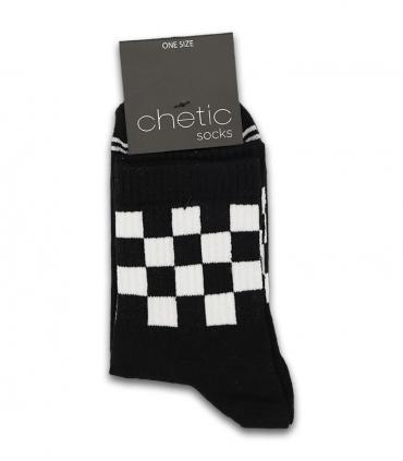 جوراب نیم ساق Chetic طرح نیمه شطرنجی مشکی سفید