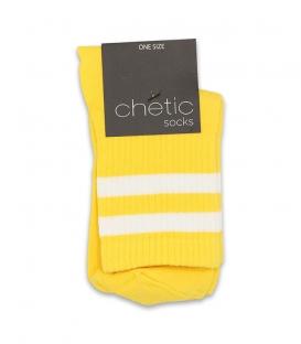 جوراب نیم ساق Chetic چتیک طرح دو خط زرد سفید