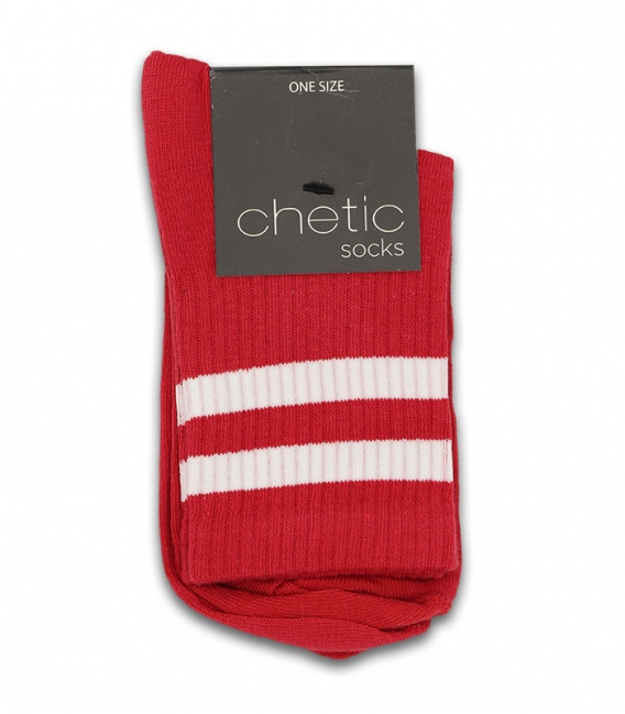 جوراب نیم ساق Chetic طرح دو خط قرمز سفید