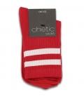 جوراب نیم ساق Chetic چتیک طرح دو خط قرمز سفید