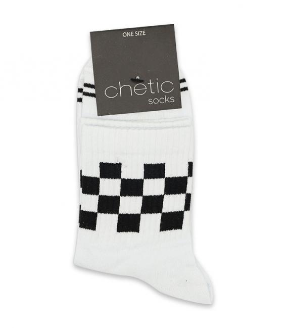 جوراب نیم ساق Chetic طرح نیمه شطرنجی سفید مشکی