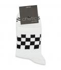 جوراب نیم ساق Chetic چتیک طرح نیمه شطرنجی سفید مشکی
