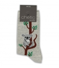 جوراب ساقدار Chetic چتیک طرح کوآلا خاکستری