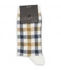 جوراب ساقدار Chetic چتیک طرح چهارخونه سفید