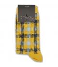 جوراب ساقدار Chetic چتیک طرح چهارخونه خردلی
