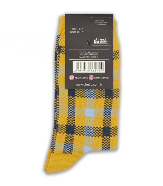 جوراب ساق دار Chetic طرح چهارخونه خردلی