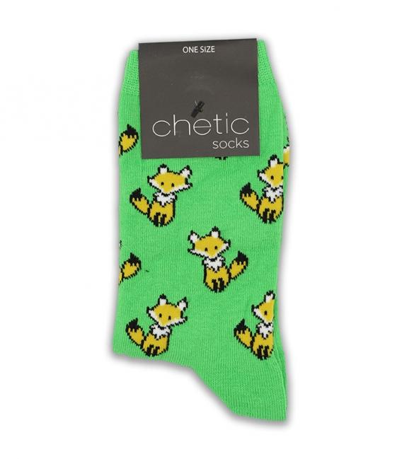 جوراب ساق دار Chetic طرح روباه کوچولو سبز
