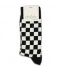 جوراب ساقدار Chetic چتیک طرح چهارخانه مشکی سفید