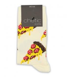 جوراب ساقدار Chetic چتیک طرح پیتزا سفید