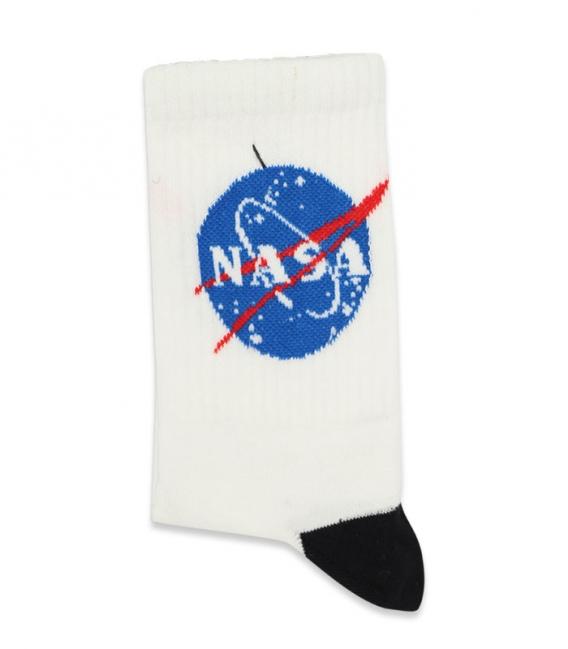 جوراب ساق بلند Chetic طرح Nasa سفید مشکی