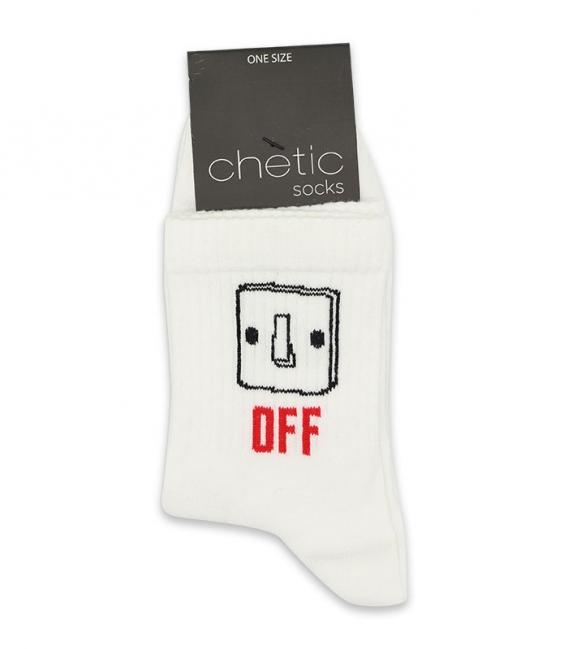 جوراب نیم ساق Chetic طرح خاموش روشن سفید