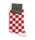 جوراب ساقدار Chetic چتیک شطرنجی قرمز سفید