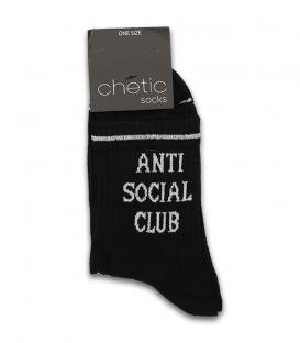 جوراب نیم ساق Chetic چتیک طرح Anti Social Club مشکی