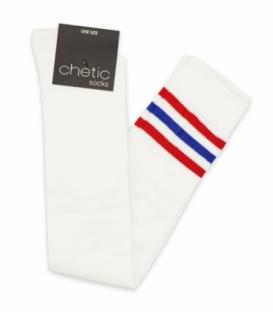 جوراب بالا زانو Chetic چتیک طرح خط دار سفید