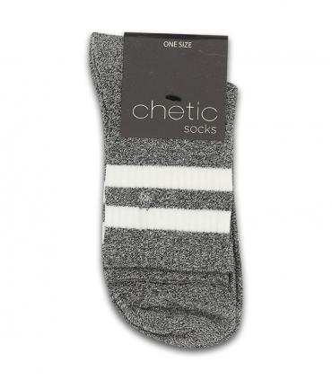 جوراب نیم ساق Chetic چتیک طرح دو خط سفید خاکستری