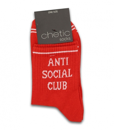 جوراب نیم ساق Chetic چتیک طرح Anti Social Club قرمز