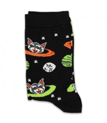 جوراب ساقدار Chetic چتیک طرح گربه کهکشانی مشکی