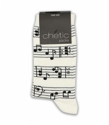 جوراب ساقدار Chetic چتیک طرح نت موسیقی سفید