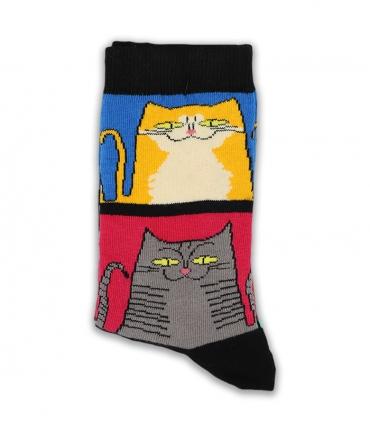 جوراب ساقدار Chetic چتیک طرح گربه رنگی